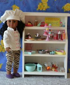 cute doll hutch, doll and accessories