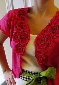teeshirt redos   DIY t-shirt redos, scarves, jewelry, purses, pillows, flowers & shoes
