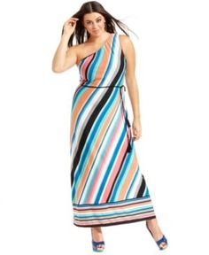 cheap plus size clothing - Love Squared Plus Size Dress One-Shoulder Striped Belted Maxi.jpg