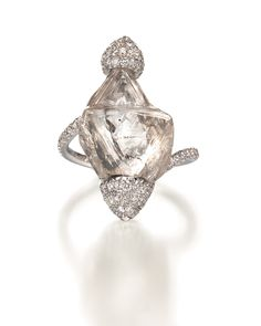 One of a kind ring featuring a 14.61ct rough diamond accented with micro pavé diamonds by Diamond in the Rough Jewelry.