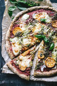 pizza on a barbecue {+ a No-Knead Sweet Potato, Pesto, Red Onion and Zucchini Ribbon Pizza}