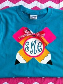 This is a great back to school shirt. It is two pencils intersecting with a circle monogram, accented with a ribbon. Ribbon will vary upon a...
