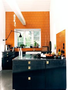 An #orange & #black #kitchen! Oh my!  What do you think? cabinets, interior design, black cabinet, orang tile, wall tiles, black kitchens, oranges, farmhouse sinks, interior photography