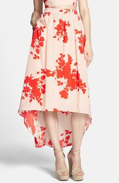 Floral Print High/Low Tulle Midi Skirt