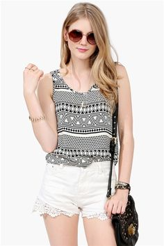 Tribal Tank - Ivory/Black