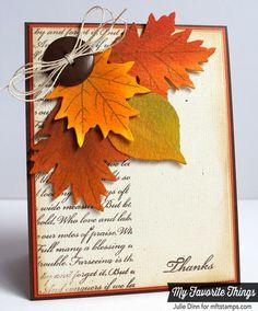 Thankful Leaves, Linen Background, Fall Leaves Die-namics - Julie Dinn #mftstamps
