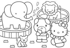 Hello Kitty at the Zoo coloring page