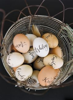 Egg calligraphy place cards