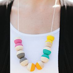 DIY painted wood bead necklace
