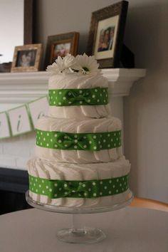 DIY diaper cake. So easy and cute.