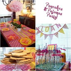 Pancakes & Pajamas party... great idea! May have to use some of these ideas for a sleepover.