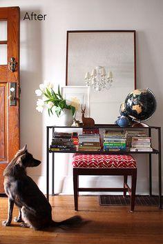 mirror, interior, entry tables, vignett, book storage