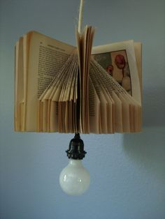 Vintage Hanging Book Lamp, Upcycled. $75.00, via Etsy.