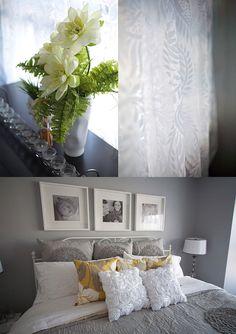 yellow, grey bedroom