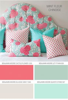 In love with this color scheme for a wedding or home décor! Love the dark pink and light blue combo on the headboard and middle pillow! Caitlin Wilson Textiles: Tips