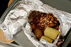 BBQ chicken dinner foil packs - everything in one place and easy clean up. Love this!