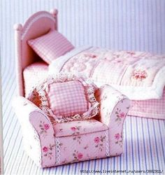 для кукол, chair, craft, doll house diy furniture, pincushion, pink rooms, free barbie patterns, dollhouse furniture, dollhouse miniatures