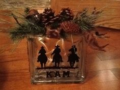 3 Cowboys Riding decal applied to a glass block (usually used for bathroom windows) to create a name plaque for a desk!