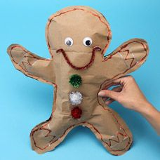 How to make a recycled paper bag gingerbread man - how cute!