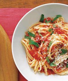 pasta with fresh tomato sauce.