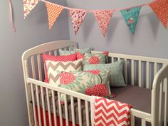 Coral and grey crib bedding. $290.00, via Etsy.