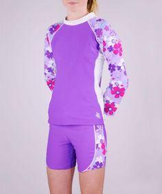 Tuga UPF 50+ Girls Shoreline Long Sleeve Top and Shorts (UV Sun Protective)