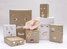 Oeuf Gift Wrapping tutorial and fun free printable faces