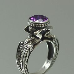 CARYATID Sterling Silver Ring with Amethyst by WingedLion on Etsy #jewellery #ring #amethyst
