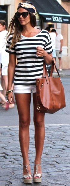 summer styles, shorts and wedges, brown bags, summer outfits, wedges and shorts, shorts wedges, short wedges, white wedges outfit, stripe