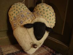 Sheep On Old Quilt Heart