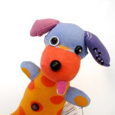 Handmade Plush Dog Sock Toy Funny Reclaimed Recycled by Fuffalumps