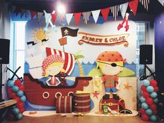 Backdrops at a Pirate Party #pirate #partybackdrop
