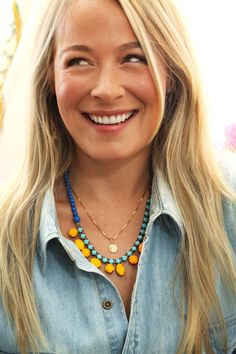 Denim shirt and bright necklace