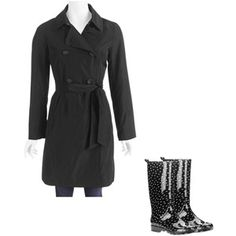 Fall Essentials: Women's Lightweight Trench Coat and Rain Boots