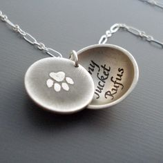 Personalized Paw Print Necklace by Lisa Hopkins Design :: Up to 3 names can be handwritten and etched into the sterling silver pendant.