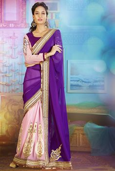 Gorgeous Rose Pink and Purple Saree