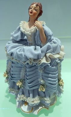 Antique Vintage Dresden Figurine of Lady in Lace l