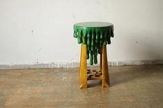 STOOL, wood, green & yellow painted. $523.50AUD. Etsy. daisukeTOU