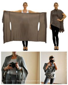 DIY Bina Brianca Wrap - wear as a scarf, cardigan, poncho, blouse, shrug, stole, turtleneck, shoulder scarf, back wrap, tunic or headscarf!