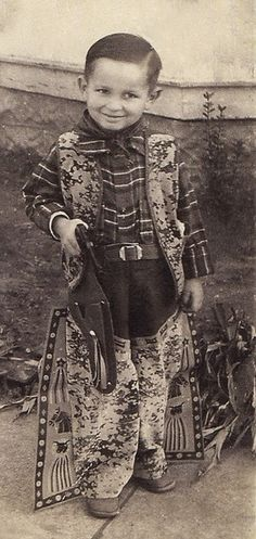 +~+~ Vintage Photograph ~+~+  Young boy (Maurice Lewis Sr.) dressed in his finest Cowboy gear!