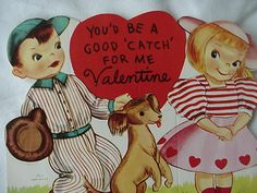 Valentine Day Kid Card Boy In Baseball Outfit And Girl With Dog
