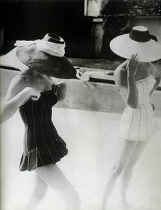 Dior bathing suits, 1954.  Photo by Henry Clarke.