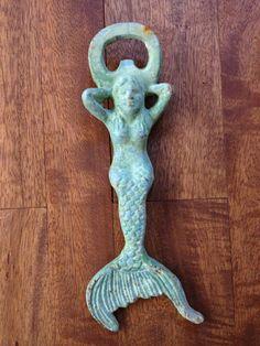 Nautical Mermaid Cast Iron Bottle Opener - Turquoise. $14.00, via Etsy.