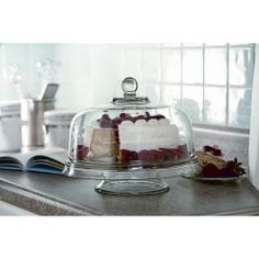Multi-use Glass Cake Stand Fruit Punch Bowl Serving Tray Platter Party Cover Lid