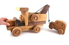 Handmade Wooden Tow Truck with Car