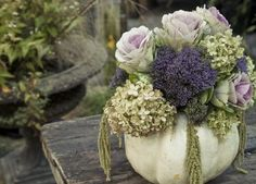 Autumn bouquet in pumpkin
