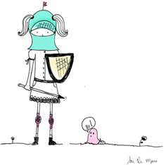 na defensiva , desenho de menina, ilustração, illustration, girl