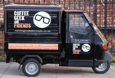 Coffee Geek and Friends, West London. Coffee van hire business - great concept, great Piaggio fit out.