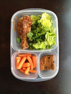 """For our lunches today we had ""leftover"" chicken drumsticks, salad, carrots and Paleo pumpkin squares. """