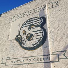 6 months 'til kickoff! // Downtown Waco mural counts down to debut of #Baylor's McLane Stadium